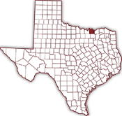Map of Texas showing location of Sherman, Texas